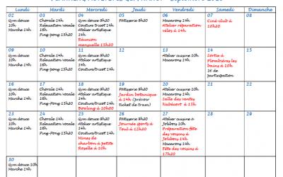 Planning activités GEM Nancy – Septembre