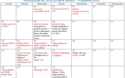 Planning octobre des activités et sorties GEM Parasol'