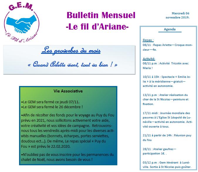 Actualités du GEM Le Fil d'Ariane – Novembre 2019