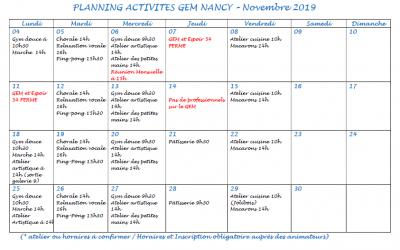 Programme des sorties et activités du GEM Parasol'
