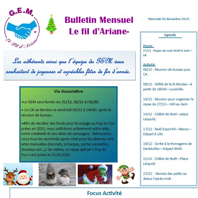 Bulletin mensuel Le Fil d'Ariane – décembre 2019