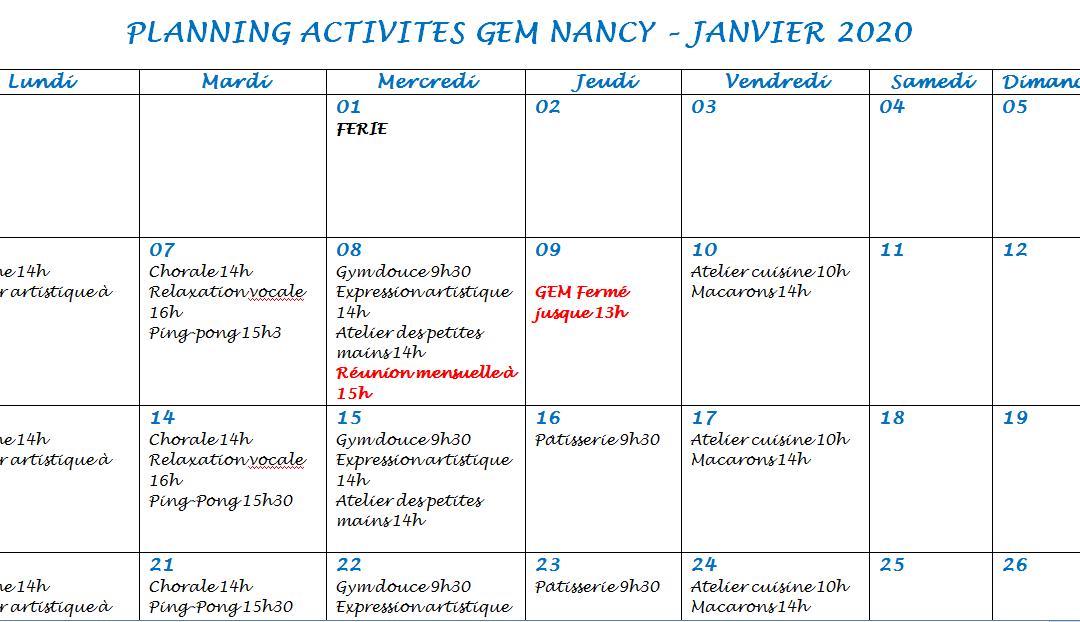 Planning des activités et sorties du GEM Parasol' de Nancy