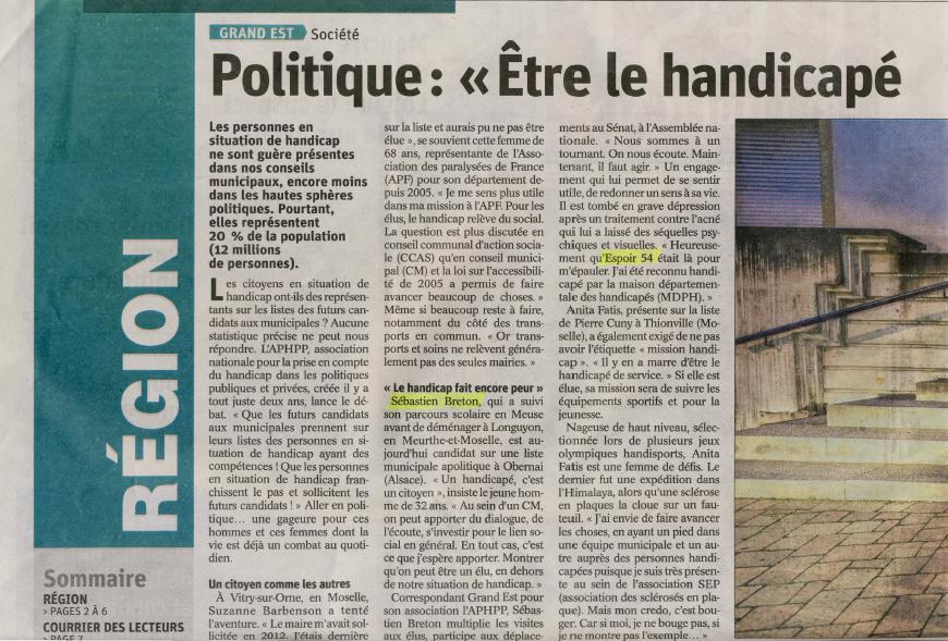Handicap et Politique : Est Républicain du 20/01/2020