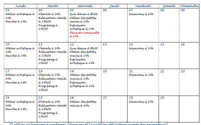 Activités et sorties du GEM Parasol' : planning de février