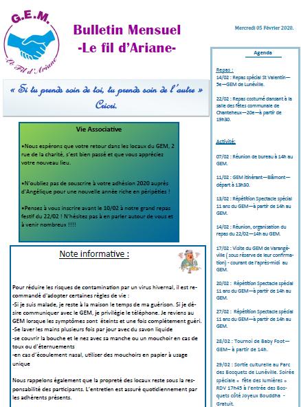 Bulletin mensuel Le Fil d'Ariane – Février 2020