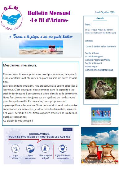 Le Fil d'Ariane – bulletin mensuel de juillet