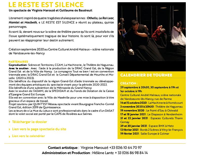 DASAT théâtre : Le Reste est Silence – 29 septembre au 19 février