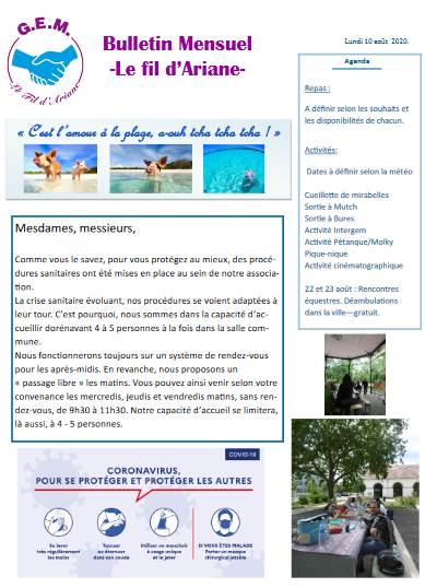 Bulletin mensuel d'août : Le Fil d'Ariane