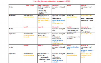 Planning septembre actions collectives GEM Parasol'