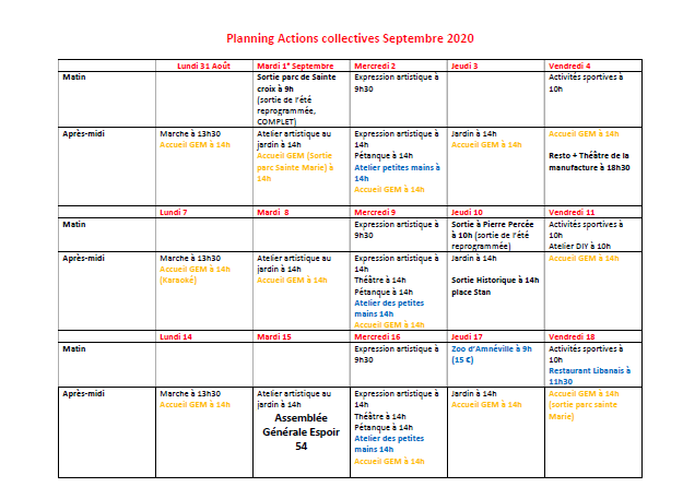 Planning septembre actions collectives GEM Parasol'