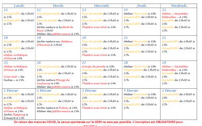 GEM Parasol' : planning de janvier