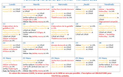 GEM Parasol' : planning de février