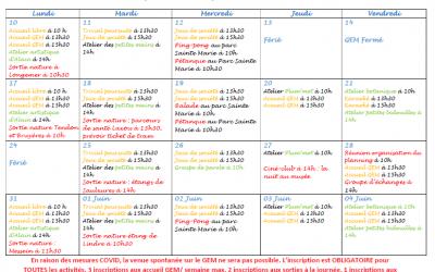 GEM Parasol' : planning de Mai