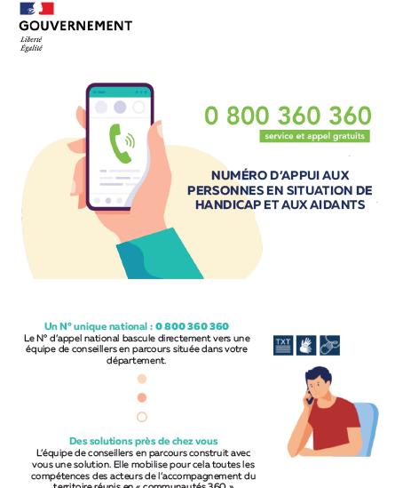 Numéro d'appui aux personnes en situation de handicap et leurs aidants 0 800 360 360